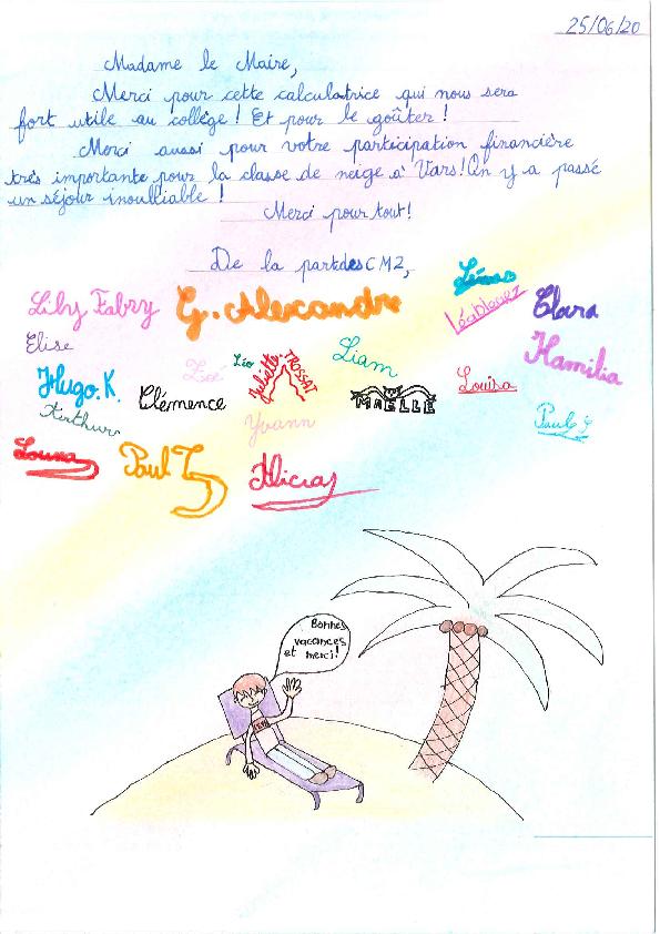 Remerciements adressés à Madame Le Maire